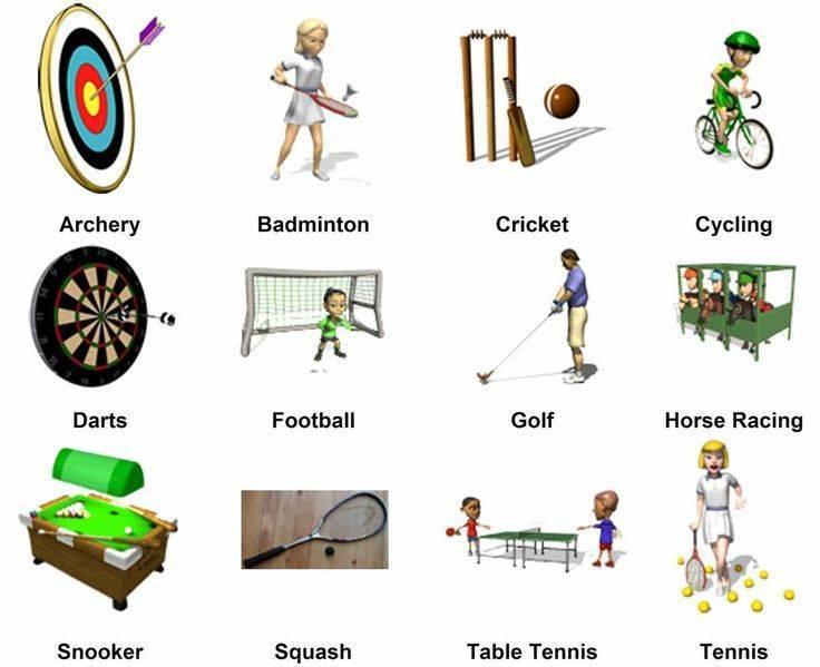 Виды спорта на английском языке с переводом на русский