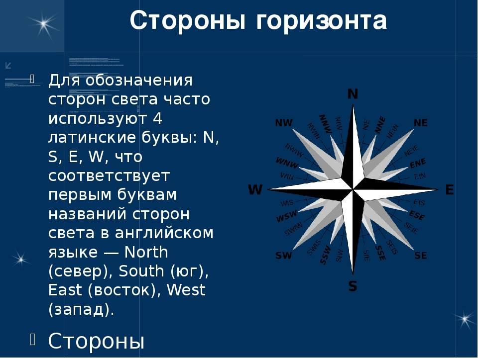 Стороны света на английском языке